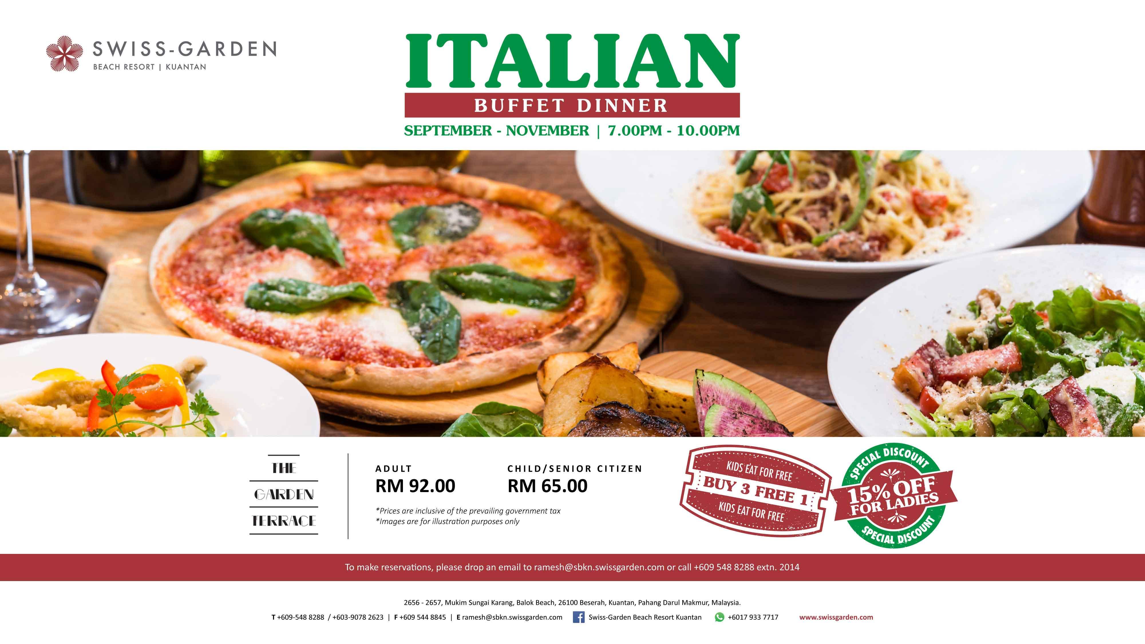 Italian buffet dinner promotion